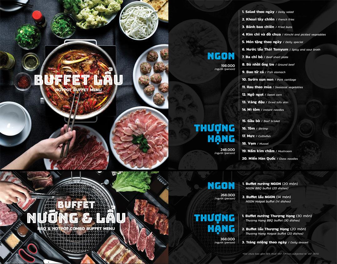 Menu buffet lẩu PP's BBQ & Hotpot