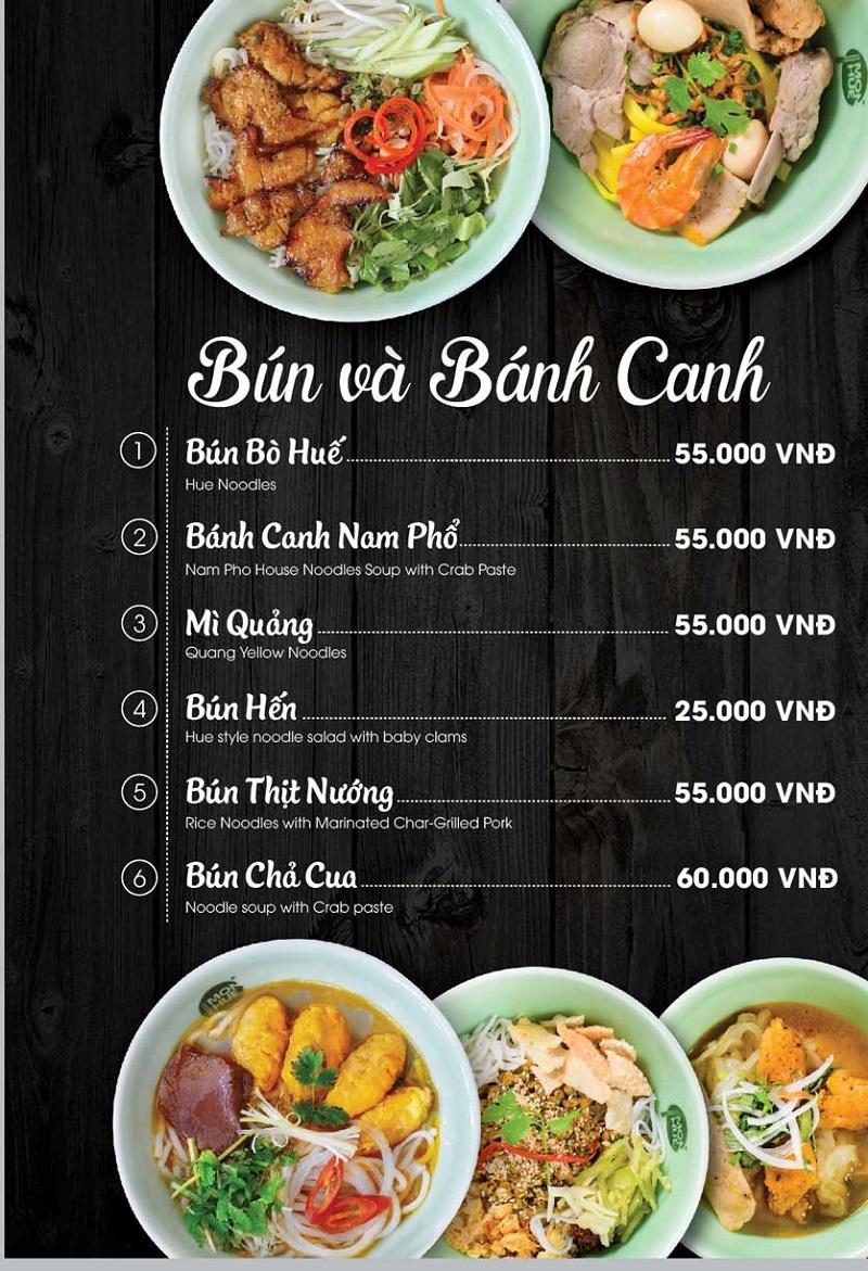Nhà hàng món Huế menu