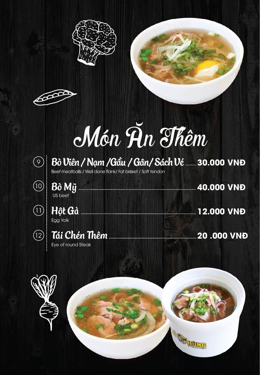 Phở Ông Hùng menu món ăn thêm