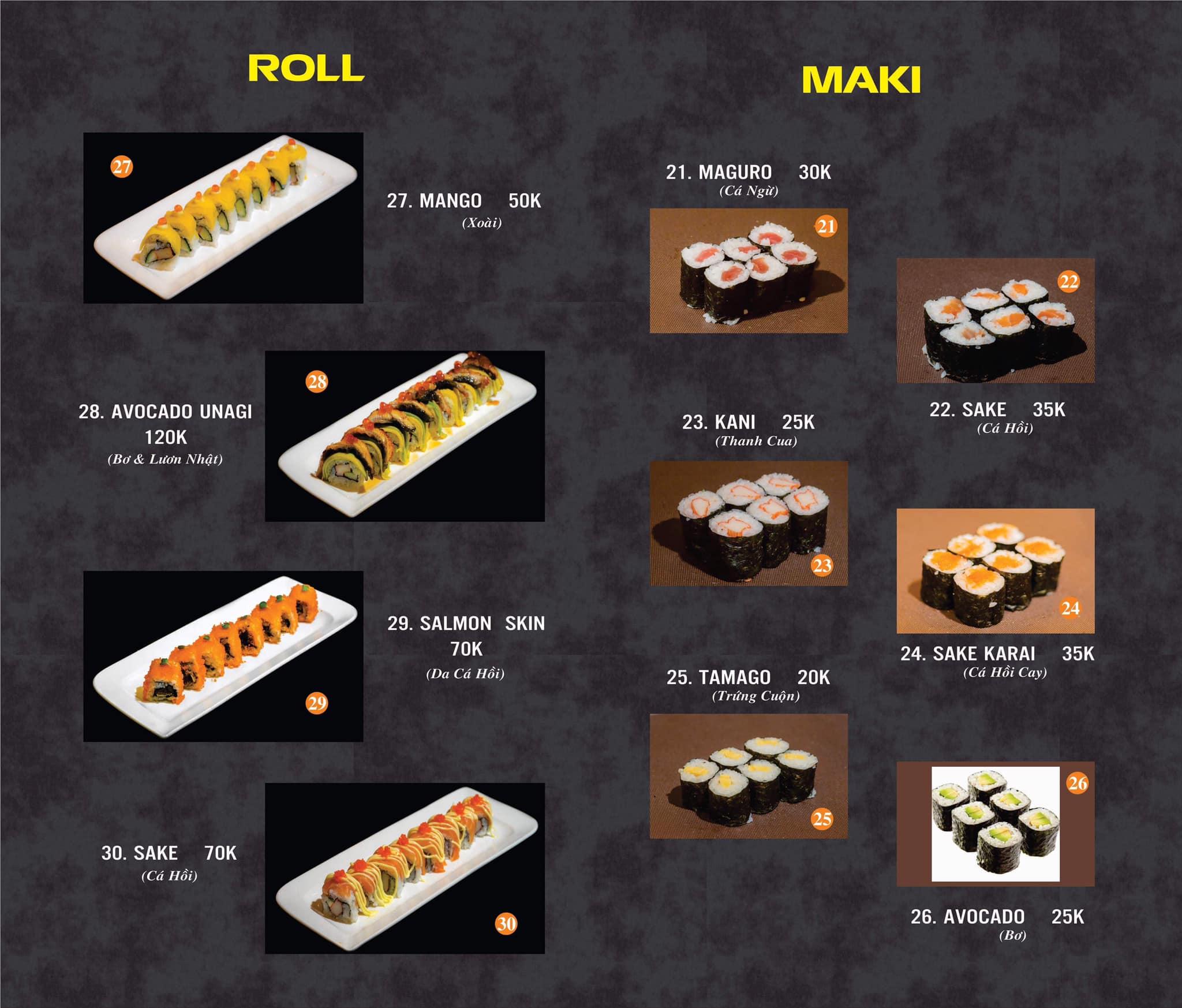 Bảng giá Nhật Vương Sushi & Fastfood