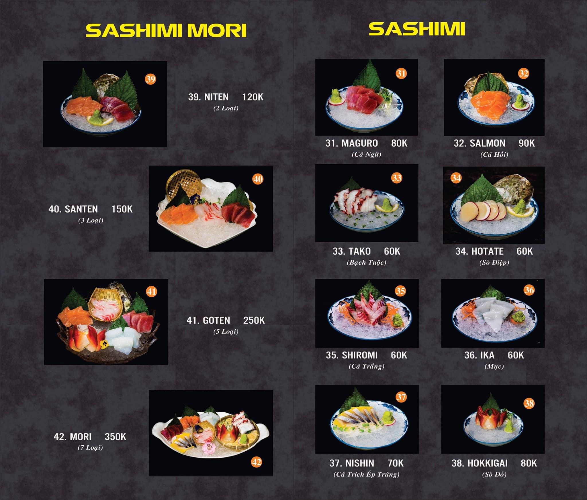 Menu và Bảng giá Nhật Vương Sushi & Fastfood