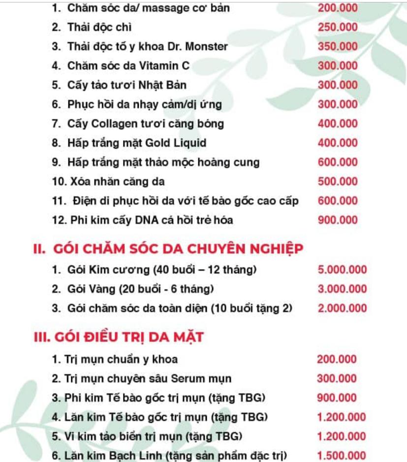 bảng giá dịch vụ tâm ý spa