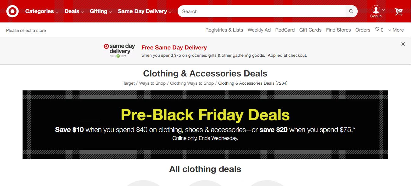 Target Black Friday 2019 Thương mại điện tử