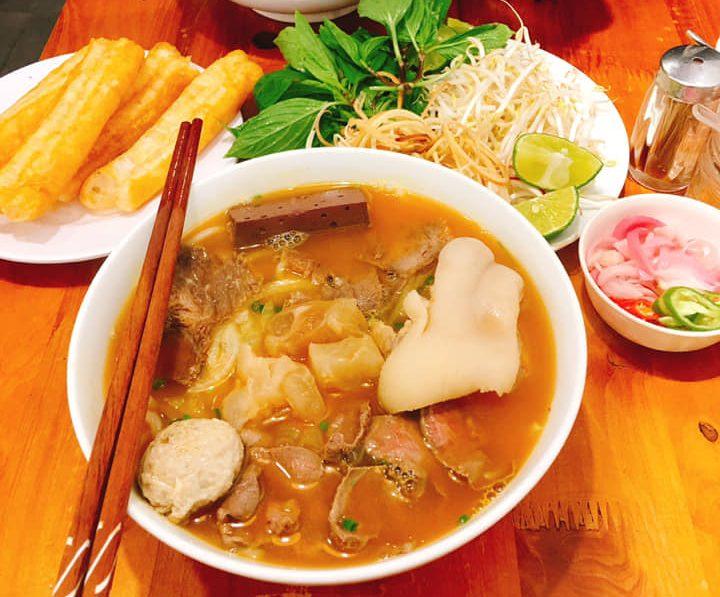 menu Bún bò Huế Đông Ba