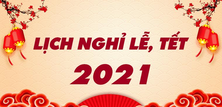 Lịch nghỉ Tết Dương lịch 2021