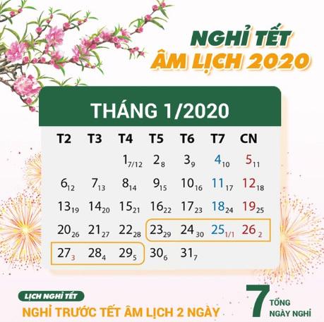 Tết âm lịch năm 2020 nghỉ mấy ngày?