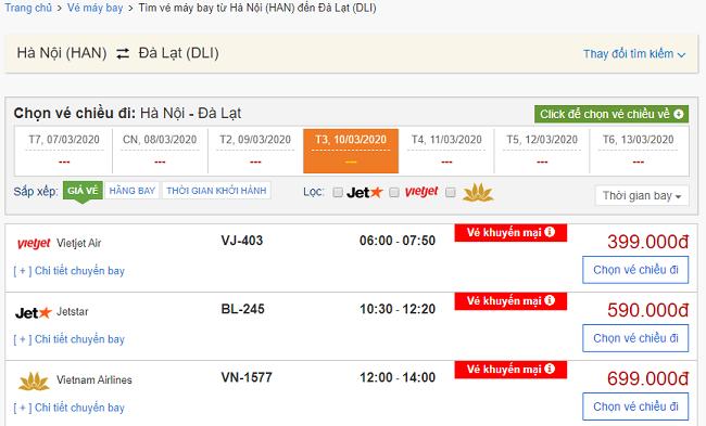 Tra giá vé máy bay đi Đà Lạt tại BestPrice